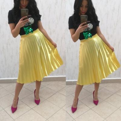 eb7bc09895c9 Dámska plisovaná sukňa - žltá farba