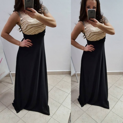 272e98b2b101 Dlhé elegantné šaty - čierno-zlaté